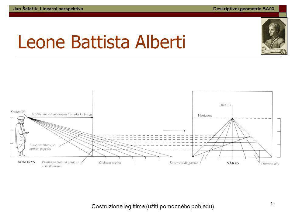 15 Costruzione legittima (užití pomocného pohledu). Leone Battista Alberti Jan Šafařík: Lineární perspektivaDeskriptivní geometrie BA03