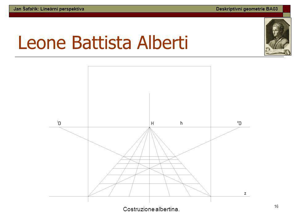 16 Costruzione albertina. Leone Battista Alberti Jan Šafařík: Lineární perspektivaDeskriptivní geometrie BA03