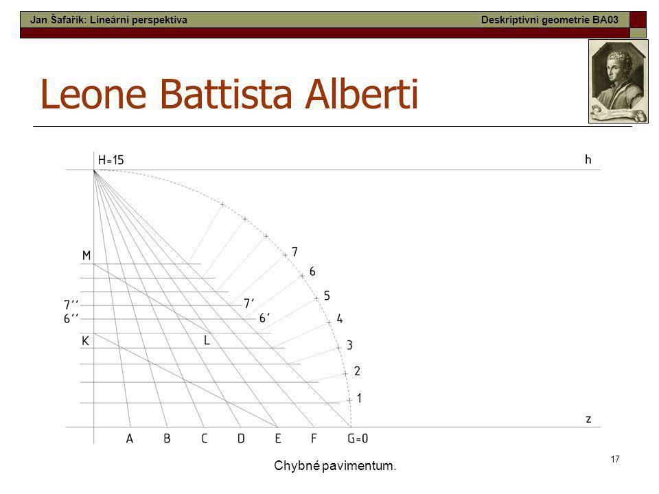 17 Chybné pavimentum. Leone Battista Alberti Jan Šafařík: Lineární perspektivaDeskriptivní geometrie BA03