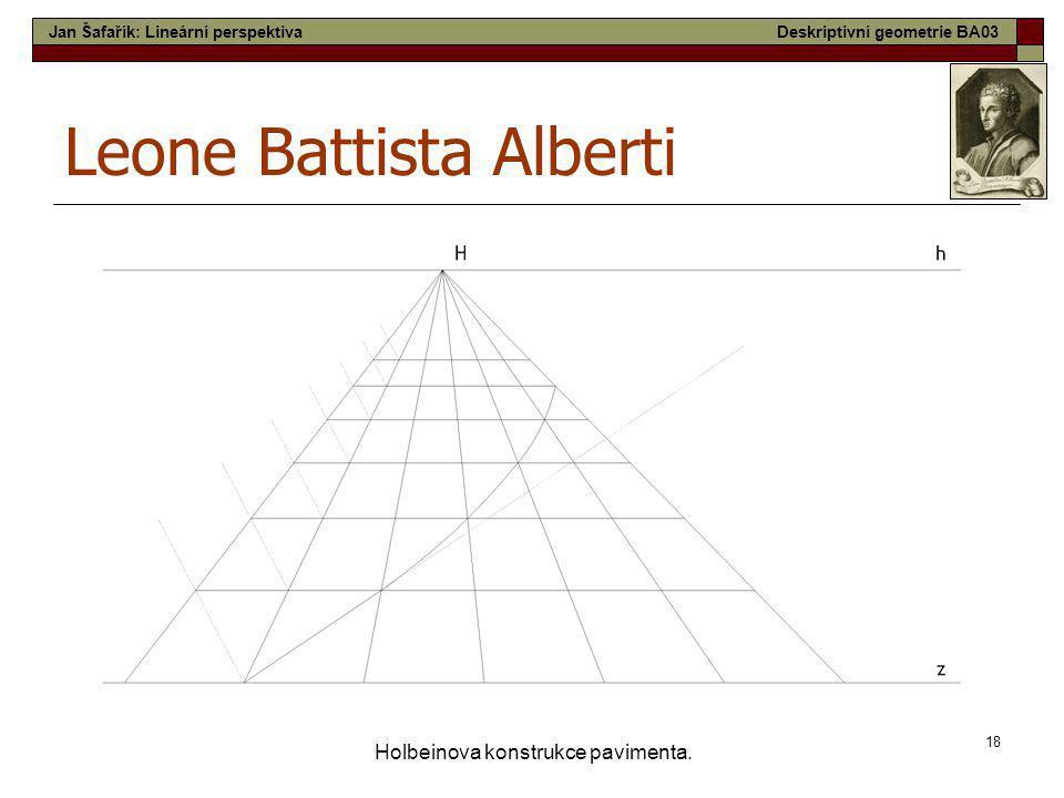 18 Holbeinova konstrukce pavimenta. Leone Battista Alberti Jan Šafařík: Lineární perspektivaDeskriptivní geometrie BA03