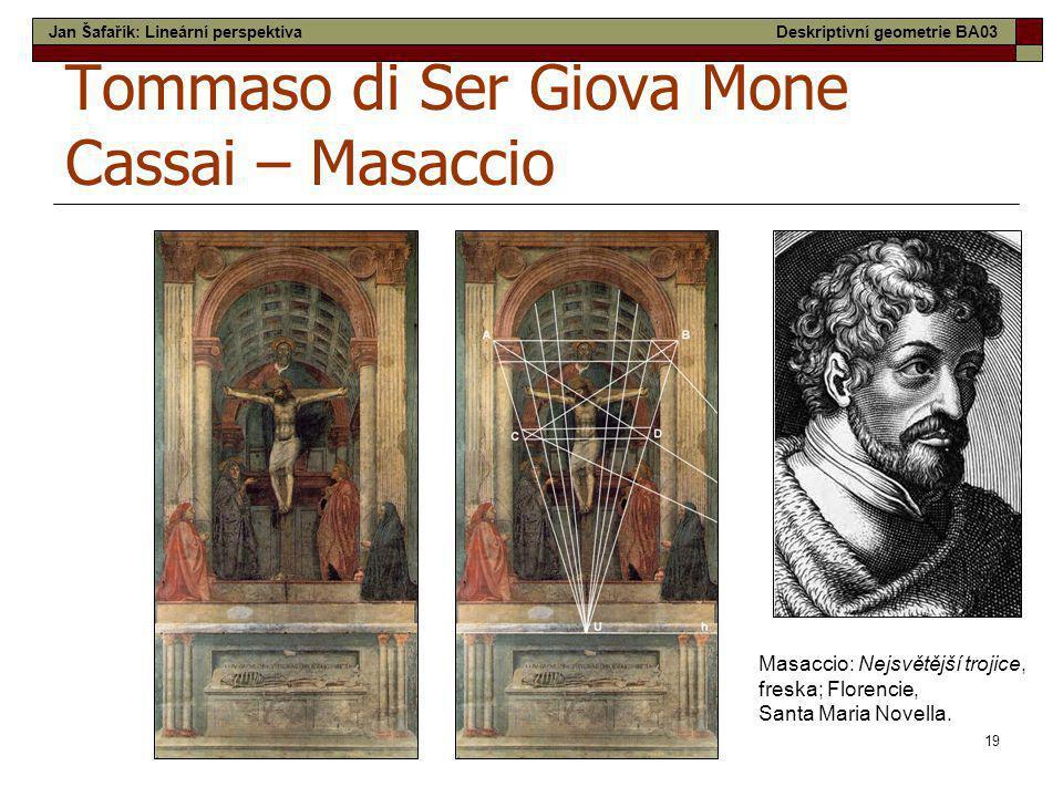 19 Tommaso di Ser Giova Mone Cassai – Masaccio Masaccio: Nejsvětější trojice, freska; Florencie, Santa Maria Novella. Jan Šafařík: Lineární perspektiv