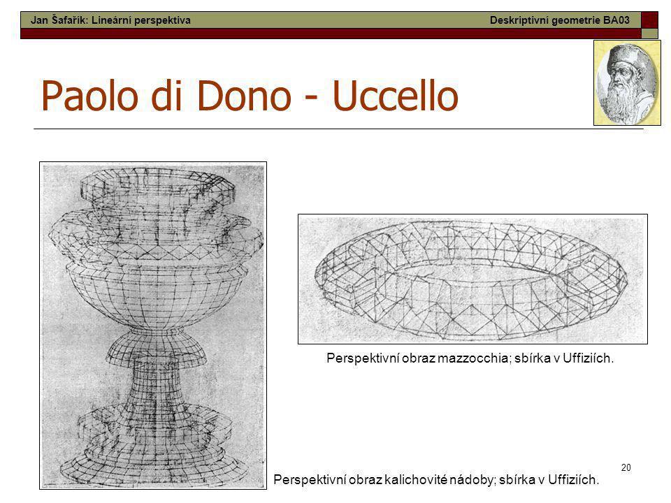 20 Paolo di Dono - Uccello Perspektivní obraz kalichovité nádoby; sbírka v Uffiziích. Perspektivní obraz mazzocchia; sbírka v Uffiziích. Jan Šafařík: