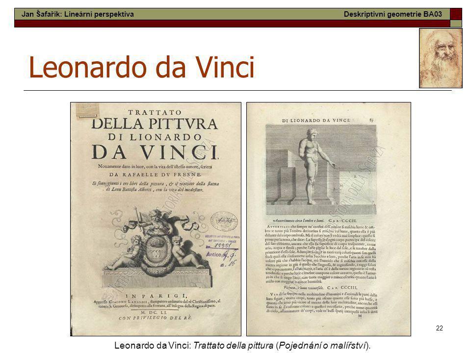 22 Leonardo da Vinci Leonardo da Vinci: Trattato della pittura (Pojednání o malířství). Jan Šafařík: Lineární perspektivaDeskriptivní geometrie BA03