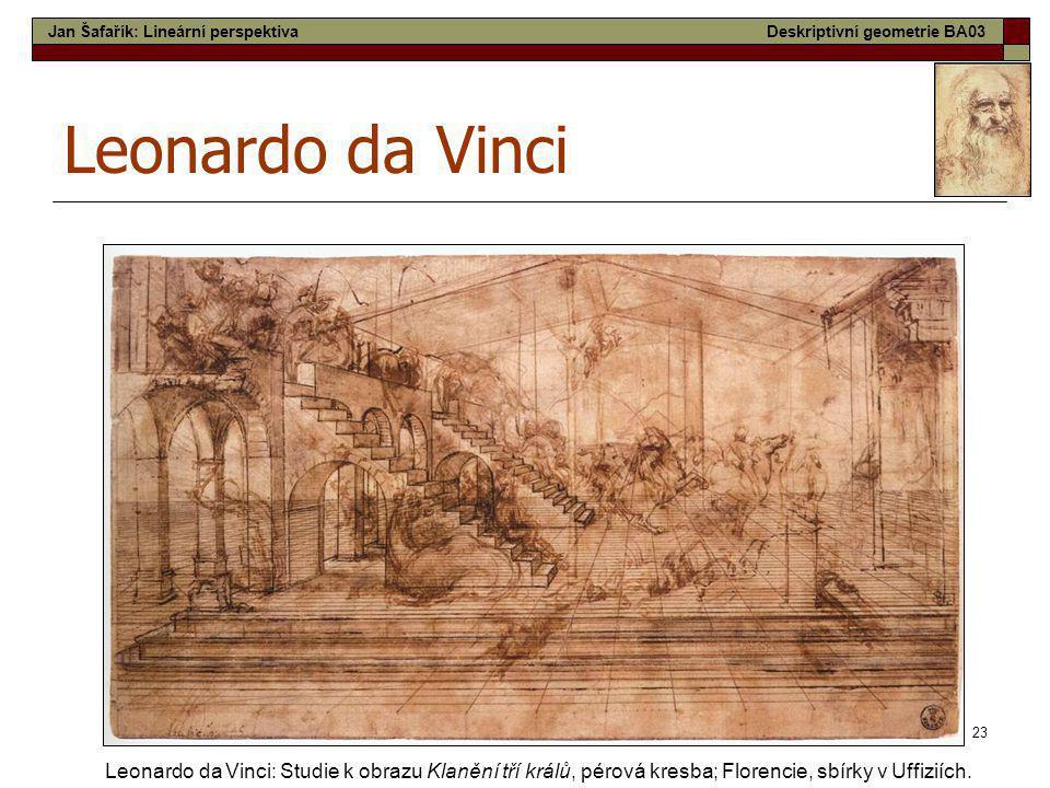 23 Leonardo da Vinci Leonardo da Vinci: Studie k obrazu Klanění tří králů, pérová kresba; Florencie, sbírky v Uffiziích. Jan Šafařík: Lineární perspek