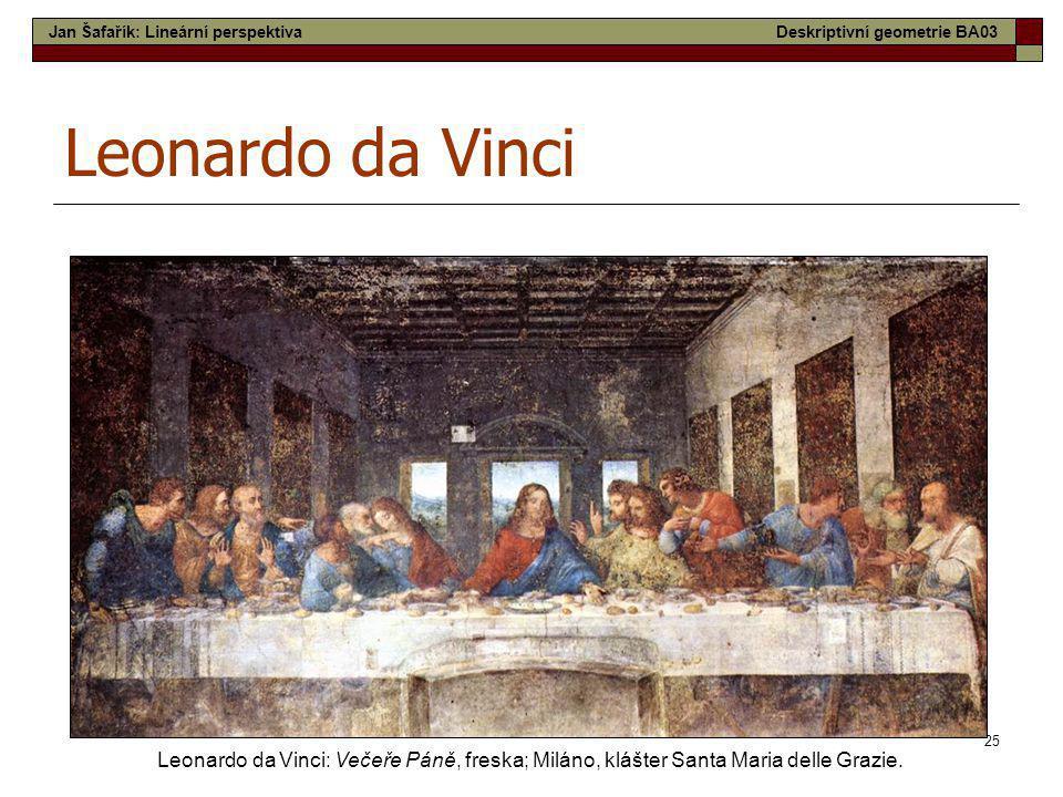 25 Leonardo da Vinci Leonardo da Vinci: Večeře Páně, freska; Miláno, klášter Santa Maria delle Grazie. Jan Šafařík: Lineární perspektivaDeskriptivní g