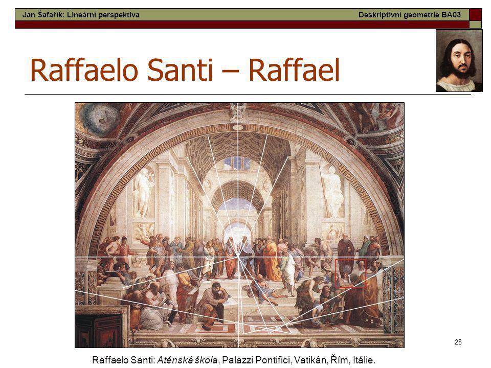 28 Raffaelo Santi – Raffael Raffaelo Santi: Aténská škola, Palazzi Pontifici, Vatikán, Řím, Itálie. Jan Šafařík: Lineární perspektivaDeskriptivní geom