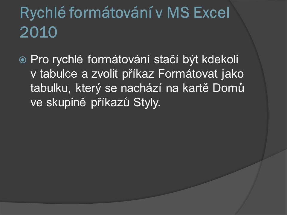 Rychlé formátování v MS Excel 2010  Pro rychlé formátování stačí být kdekoli v tabulce a zvolit příkaz Formátovat jako tabulku, který se nachází na k