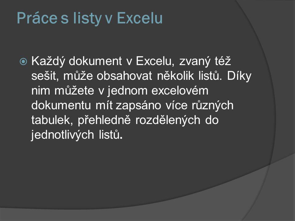 Práce s listy v Excelu  Každý dokument v Excelu, zvaný též sešit, může obsahovat několik listů. Díky nim můžete v jednom excelovém dokumentu mít zaps