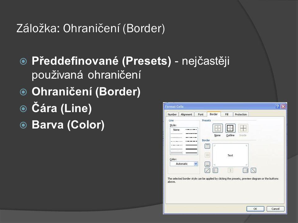 Záložka: Ohraničení (Border)  Předdefinované (Presets) - nejčastěji použivaná ohraničení  Ohraničení (Border)  Čára (Line)  Barva (Color)