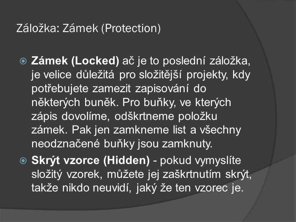 Záložka: Zámek (Protection)  Zámek (Locked) ač je to poslední záložka, je velice důležitá pro složitější projekty, kdy potřebujete zamezit zapisování