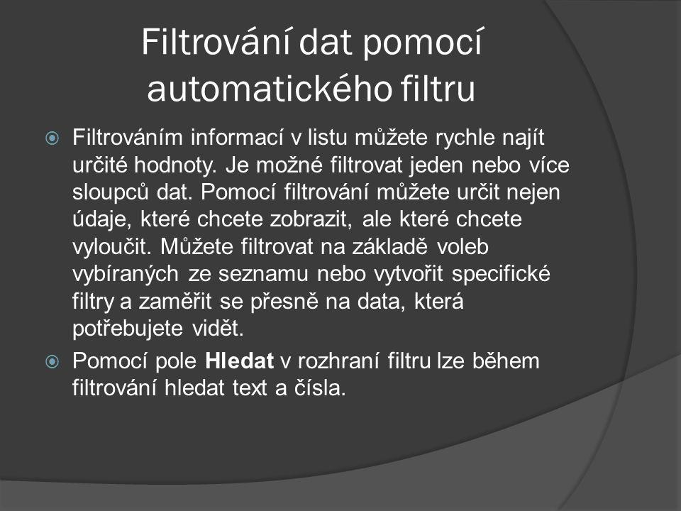 Filtrování dat pomocí automatického filtru  Filtrováním informací v listu můžete rychle najít určité hodnoty. Je možné filtrovat jeden nebo více slou