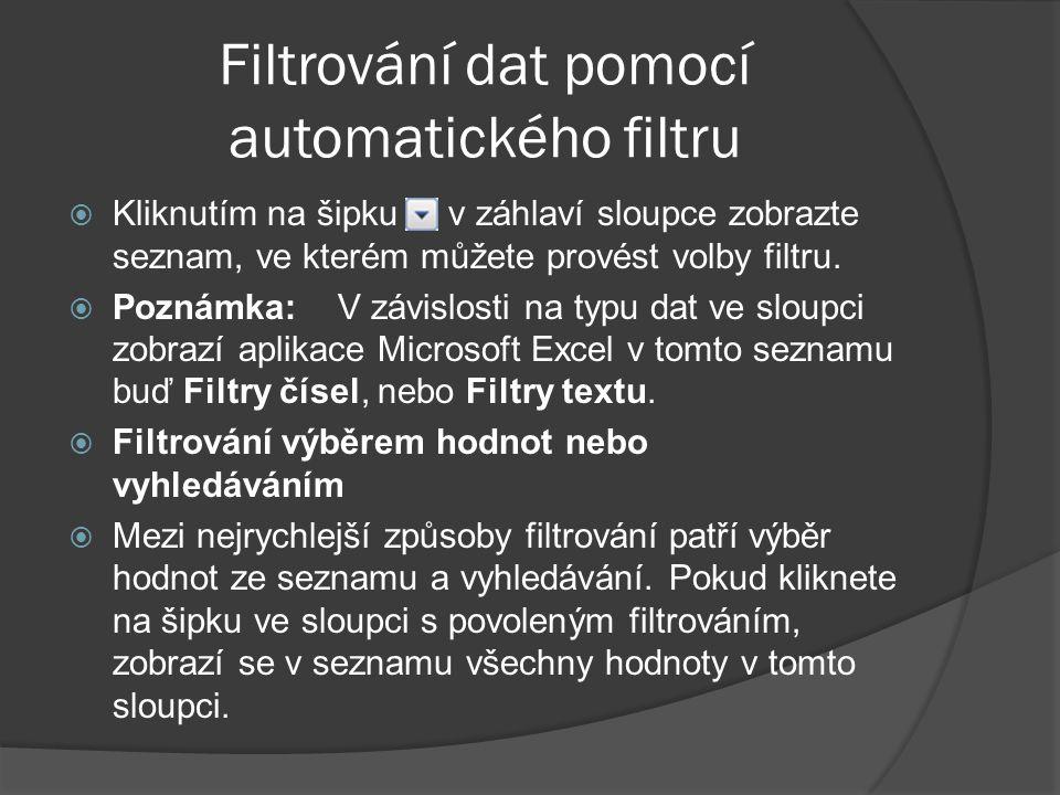 Filtrování dat pomocí automatického filtru  Kliknutím na šipku v záhlaví sloupce zobrazte seznam, ve kterém můžete provést volby filtru.  Poznámka: