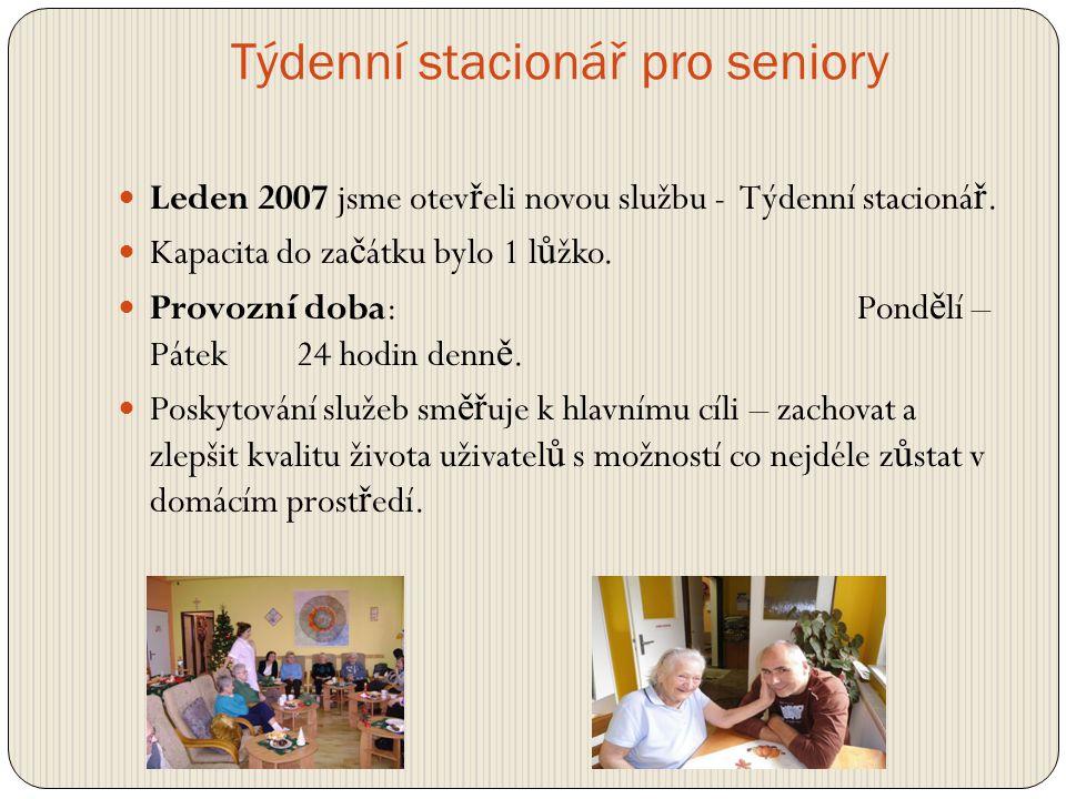 Týdenní stacionář pro seniory  Leden 2007 jsme otev ř eli novou službu - Týdenní stacioná ř.  Kapacita do za č átku bylo 1 l ů žko.  Provozní doba: