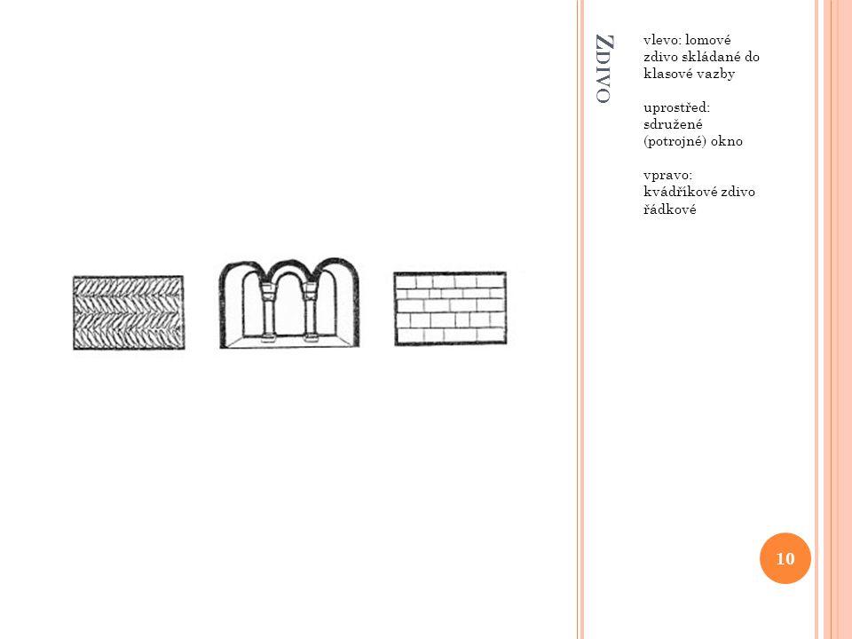 Z DIVO vlevo: lomové zdivo skládané do klasové vazby uprostřed: sdružené (potrojné) okno vpravo: kvádříkové zdivo řádkové 10