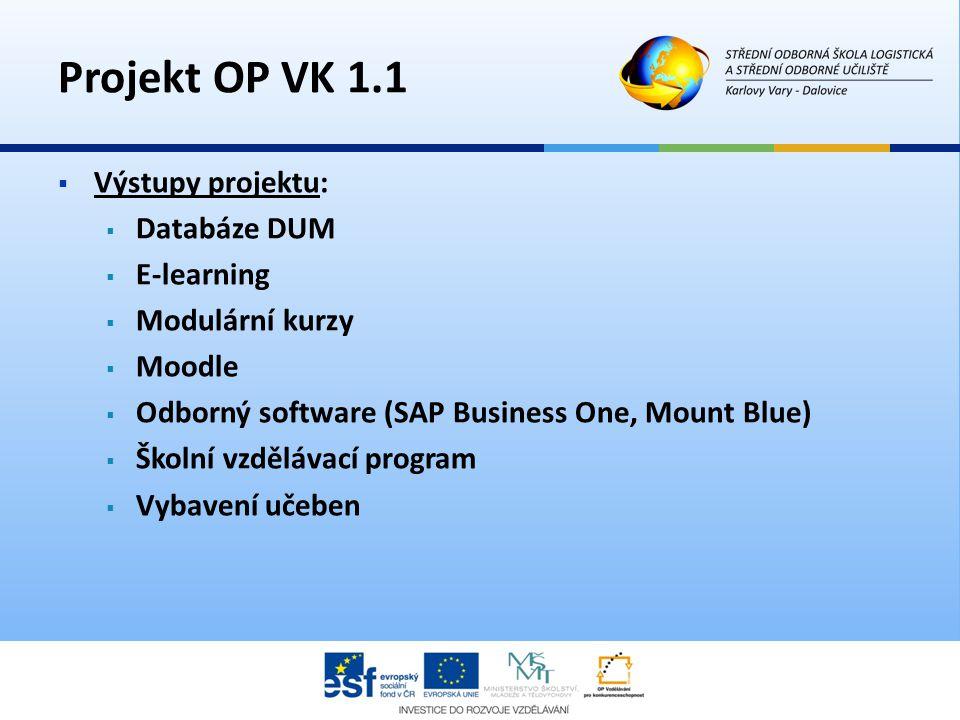  Výstupy projektu:  Databáze DUM  E-learning  Modulární kurzy  Moodle  Odborný software (SAP Business One, Mount Blue)  Školní vzdělávací progr