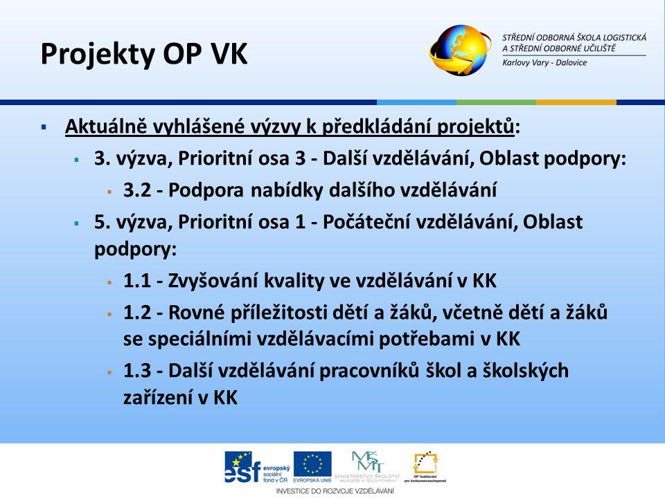 Projekty OP VK  Aktuálně vyhlášené výzvy k předkládání projektů:  3. výzva, Prioritní osa 3 - Další vzdělávání, Oblast podpory:  3.2 - Podpora nabí