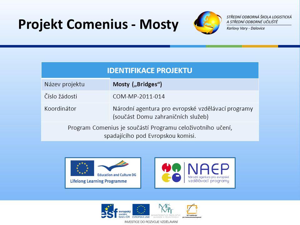 """Projekt Comenius - Mosty IDENTIFIKACE PROJEKTU Název projektuMosty (""""Bridges"""") Číslo žádostiCOM-MP-2011-014 KoordinátorNárodní agentura pro evropské v"""