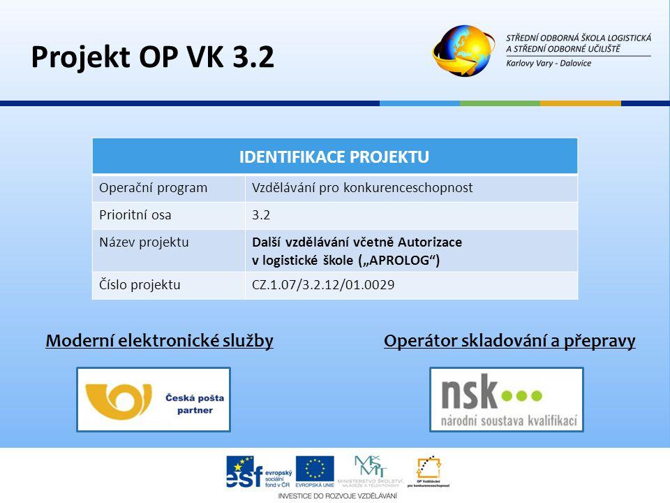 Projekt OP VK 3.2 IDENTIFIKACE PROJEKTU Operační programVzdělávání pro konkurenceschopnost Prioritní osa3.2 Název projektuDalší vzdělávání včetně Auto