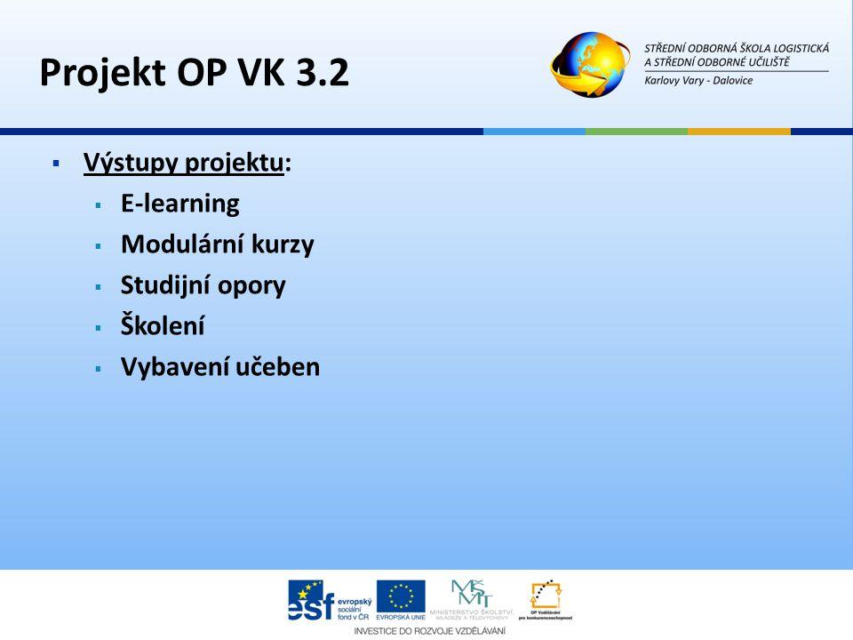 Projekt OP VK 3.2  Výstupy projektu:  E-learning  Modulární kurzy  Studijní opory  Školení  Vybavení učeben