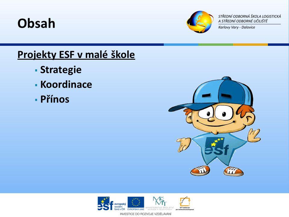 Projekty ESF v malé škole  Strategie  Koordinace  Přínos Obsah