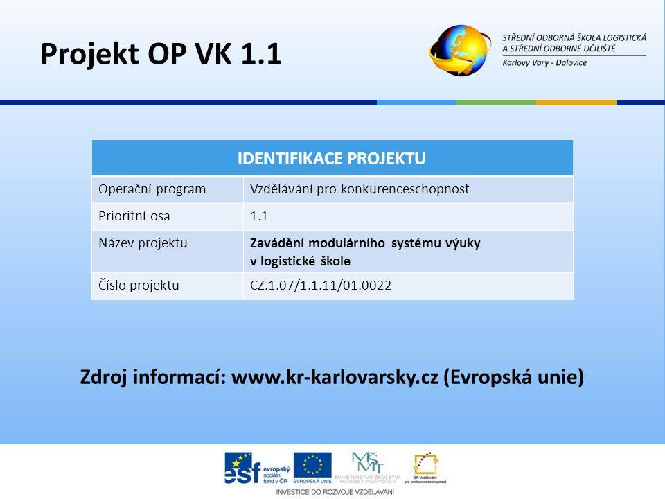 IDENTIFIKACE PROJEKTU Operační programVzdělávání pro konkurenceschopnost Prioritní osa1.1 Název projektuZavádění modulárního systému výuky v logistick