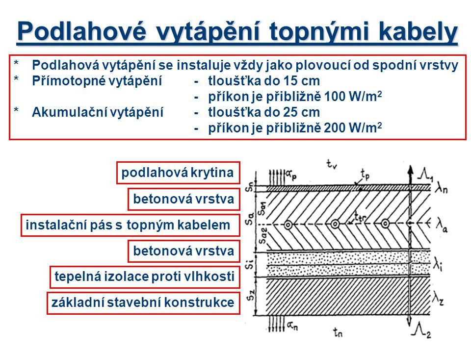 Podlahové vytápění topnými kabely *Podlahová vytápění se instaluje vždy jako plovoucí od spodní vrstvy *Přímotopné vytápění -tloušťka do 15 cm -příkon je přibližně 100 W/m 2 *Akumulační vytápění-tloušťka do 25 cm -příkon je přibližně 200 W/m 2 základní stavební konstrukce tepelná izolace proti vlhkosti betonová vrstva instalační pás s topným kabelem betonová vrstva podlahová krytina