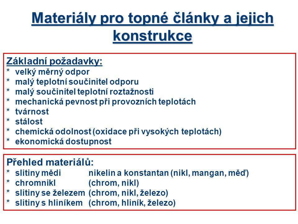 Materiály pro topné články a jejich konstrukce Přehled materiálů: *slitiny mědinikelin a konstantan (nikl, mangan, měď) *chromnikl(chrom, nikl) *slitiny se železem (chrom, nikl, železo) *slitiny s hliníkem(chrom, hliník, železo) Základní požadavky: *velký měrný odpor *malý teplotní součinitel odporu *malý součinitel teplotní roztažnosti *mechanická pevnost při provozních teplotách *tvárnost *stálost *chemická odolnost (oxidace při vysokých teplotách) *ekonomická dostupnost