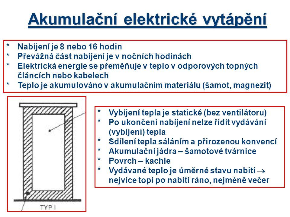 *Nabíjení je 8 nebo 16 hodin *Převážná část nabíjení je v nočních hodinách *Elektrická energie se přeměňuje v teplo v odporových topných článcích nebo kabelech *Teplo je akumulováno v akumulačním materiálu (šamot, magnezit) Akumulační elektrické vytápění *Vybíjení tepla je statické (bez ventilátoru) *Po ukončení nabíjení nelze řídit vydávání (vybíjení) tepla *Sdílení tepla sáláním a přirozenou konvencí *Akumulační jádra – šamotové tvárnice *Povrch – kachle *Vydávané teplo je úměrné stavu nabití  nejvíce topí po nabití ráno, nejméně večer