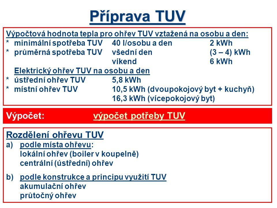 Příprava TUV Výpočtová hodnota tepla pro ohřev TUV vztažená na osobu a den: *minimální spotřeba TUV 40 l/osobu a den2 kWh *průměrná spotřeba TUVvšední den(3 – 4) kWh víkend6 kWh Elektrický ohřev TUV na osobu a den *ústřední ohřev TUV5,8 kWh *místní ohřev TUV10,5 kWh (dvoupokojový byt + kuchyň) 16,3 kWh (vícepokojový byt) Rozdělení ohřevu TUV a)podle místa ohřevu: lokální ohřev (boiler v koupelně) centrální (ústřední) ohřev b)podle konstrukce a principu využití TUV akumulační ohřev průtočný ohřev Výpočet:výpočet potřeby TUVvýpočet potřeby TUV