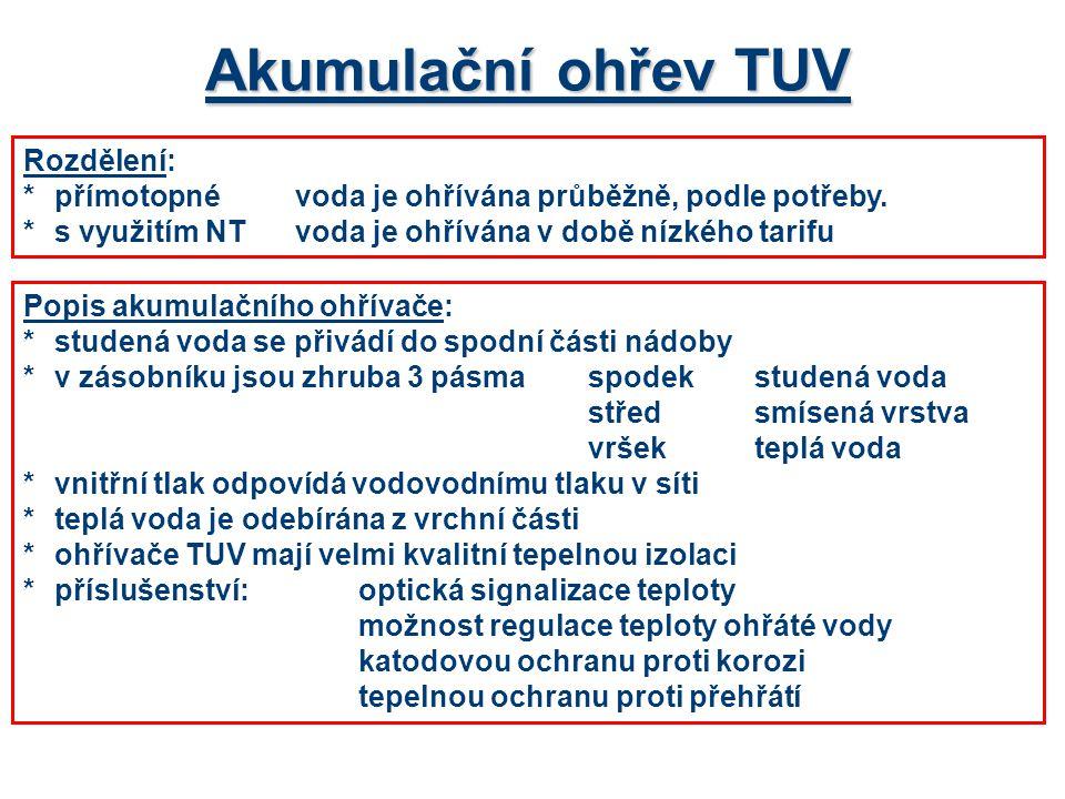 Akumulační ohřev TUV Rozdělení: *přímotopnévoda je ohřívána průběžně, podle potřeby.
