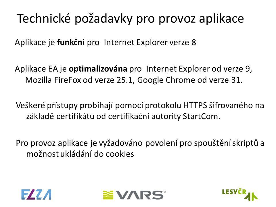 Technické požadavky pro provoz aplikace Aplikace je funkční pro Internet Explorer verze 8 Aplikace EA je optimalizována pro Internet Explorer od verze 9, Mozilla FireFox od verze 25.1, Google Chrome od verze 31.