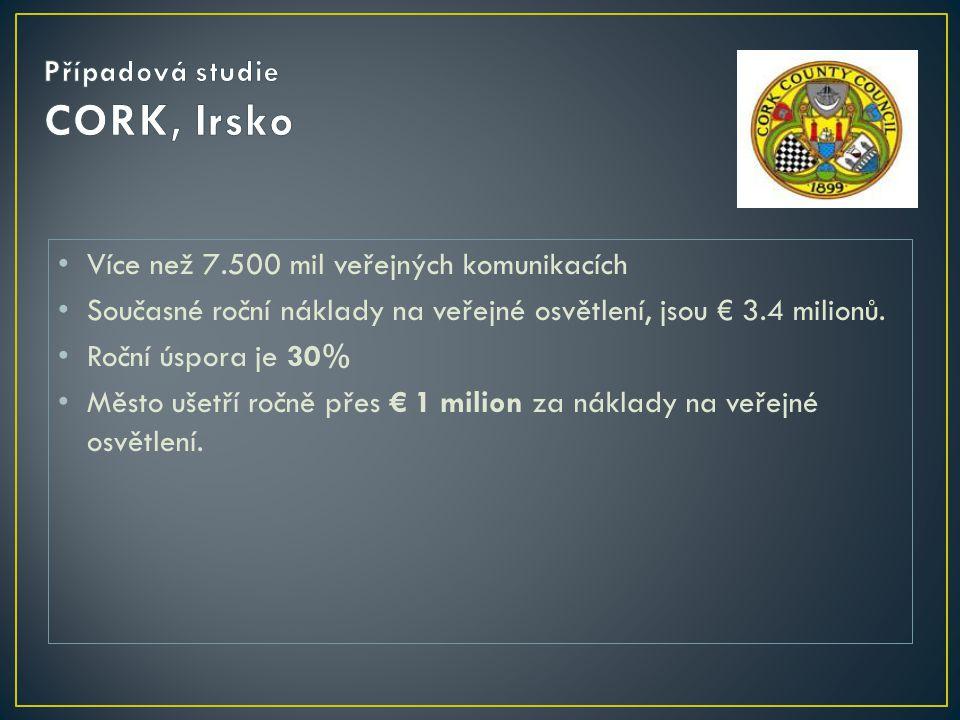 • Více než 7.500 mil veřejných komunikacích • Současné roční náklady na veřejné osvětlení, jsou € 3.4 milionů. • Roční úspora je 30% • Město ušetří ro