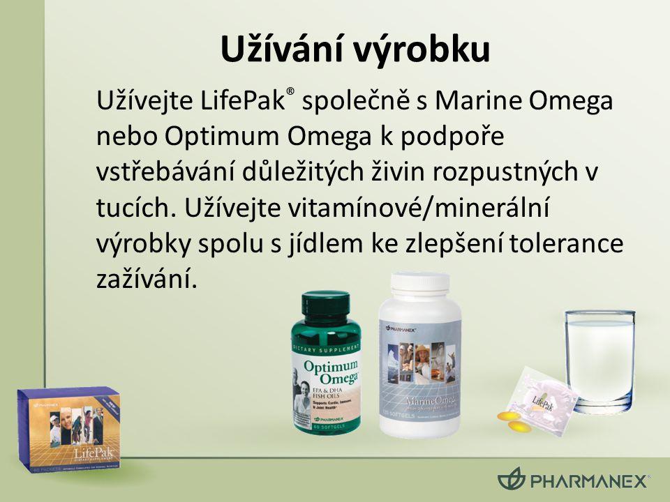 Užívání výrobku Užívejte LifePak ® společně s Marine Omega nebo Optimum Omega k podpoře vstřebávání důležitých živin rozpustných v tucích. Užívejte vi
