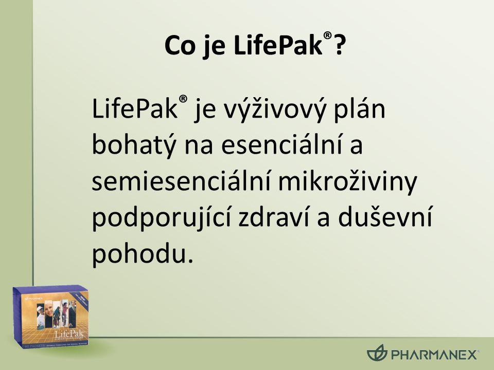 Co je LifePak ® ? LifePak ® je výživový plán bohatý na esenciální a semiesenciální mikroživiny podporující zdraví a duševní pohodu.