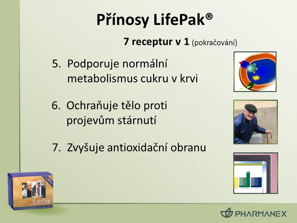 6.Ochraňuje tělo proti projevům stárnutí 5.Podporuje normální metabolismus cukru v krvi 7.Zvyšuje antioxidační obranu (pokračování) Přínosy LifePak® 7