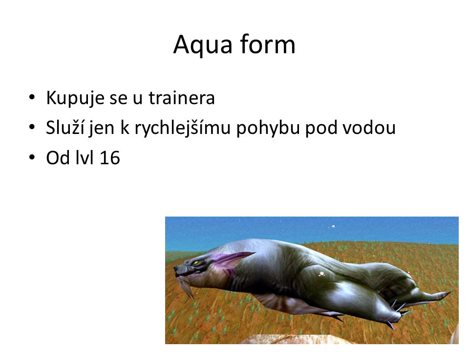 Aqua form • Kupuje se u trainera • Služí jen k rychlejšímu pohybu pod vodou • Od lvl 16