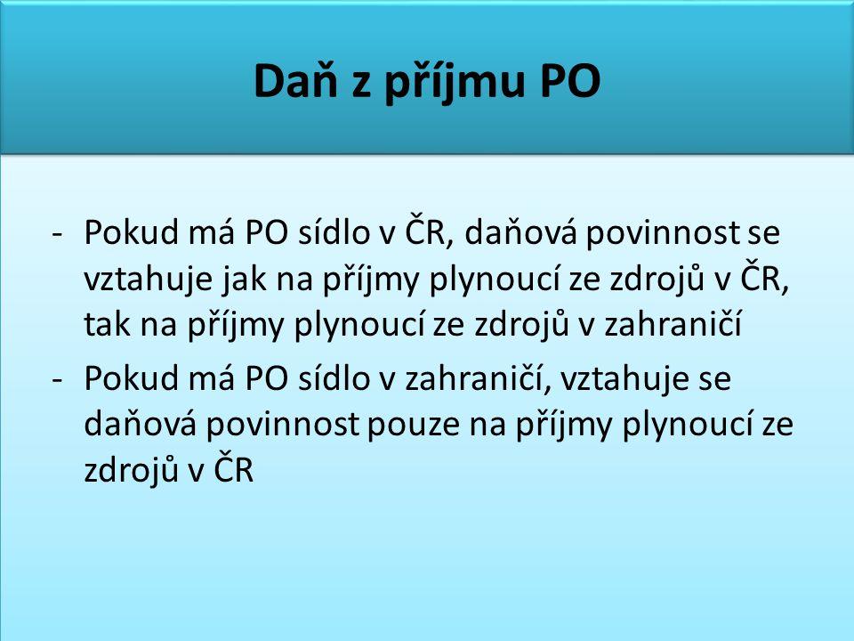 Daň z příjmu PO -Pokud má PO sídlo v ČR, daňová povinnost se vztahuje jak na příjmy plynoucí ze zdrojů v ČR, tak na příjmy plynoucí ze zdrojů v zahraničí -Pokud má PO sídlo v zahraničí, vztahuje se daňová povinnost pouze na příjmy plynoucí ze zdrojů v ČR