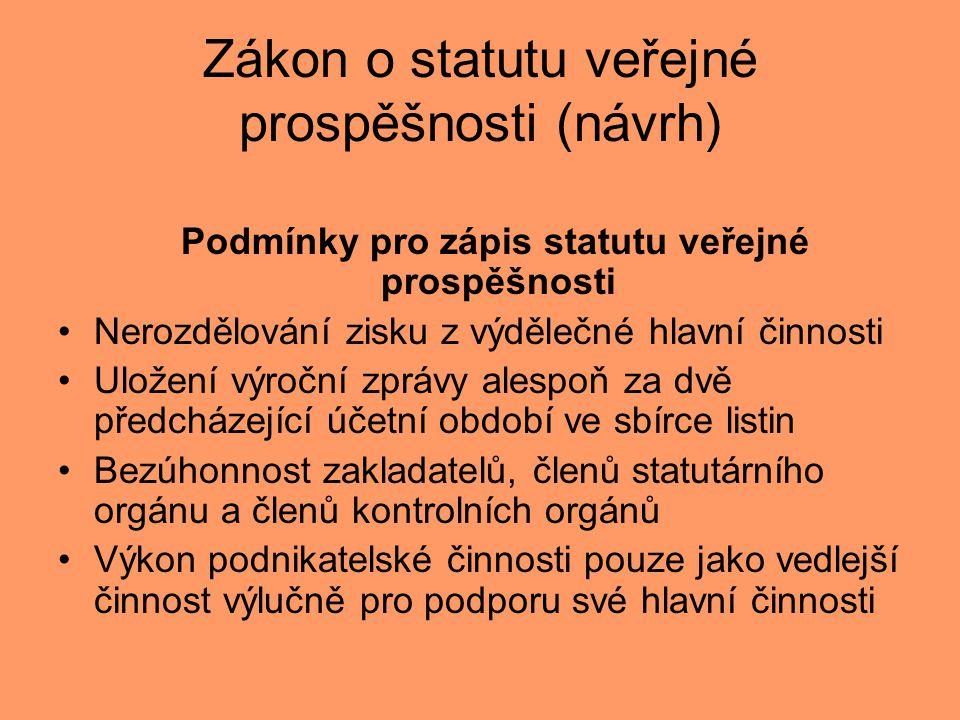 Zákon o statutu veřejné prospěšnosti (návrh) Podmínky pro zápis statutu veřejné prospěšnosti •Nerozdělování zisku z výdělečné hlavní činnosti •Uložení