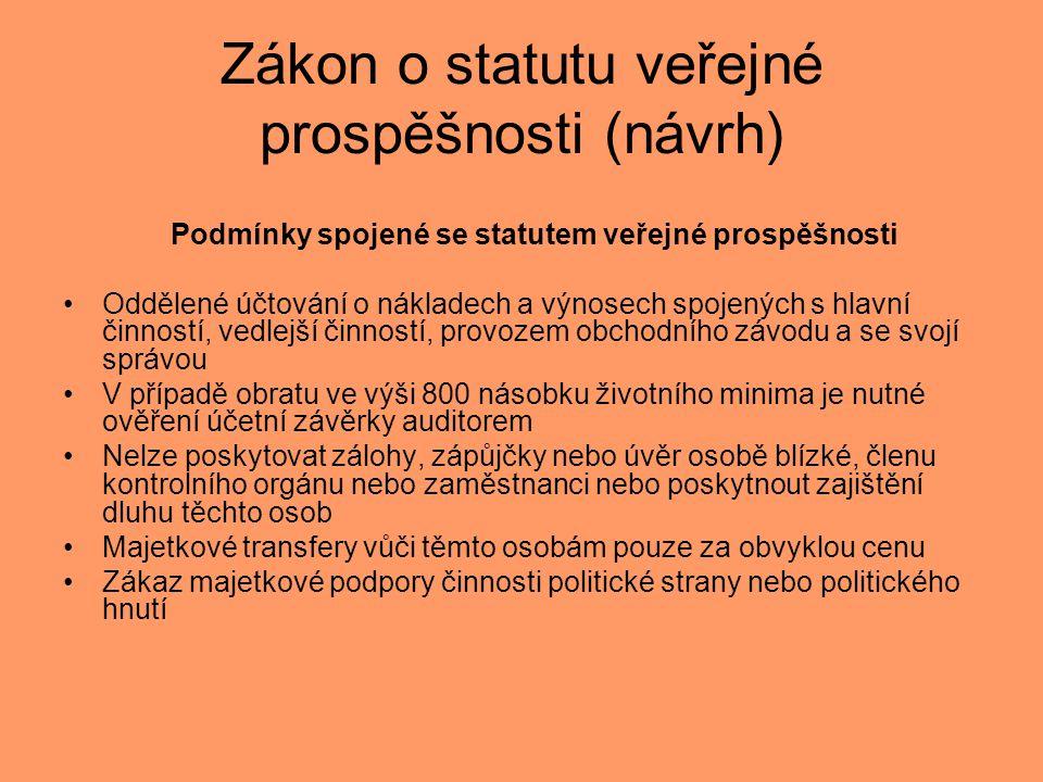 Zákon o statutu veřejné prospěšnosti (návrh) Podmínky spojené se statutem veřejné prospěšnosti •Oddělené účtování o nákladech a výnosech spojených s h