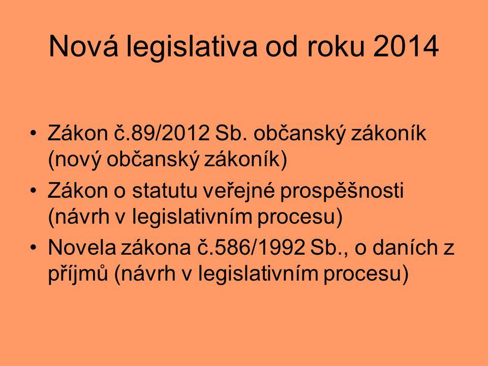 Nová legislativa od roku 2014 •Zákon č.89/2012 Sb. občanský zákoník (nový občanský zákoník) •Zákon o statutu veřejné prospěšnosti (návrh v legislativn