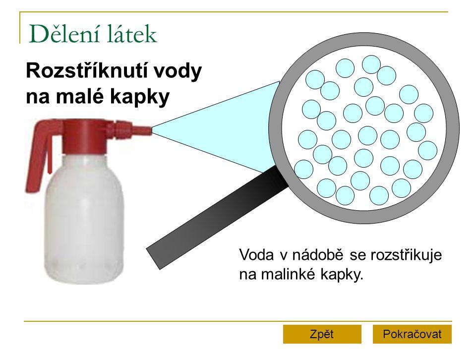 Dělení látek PokračovatZpět Rozstříknutí vody na malé kapky Voda v nádobě se rozstřikuje na malinké kapky.