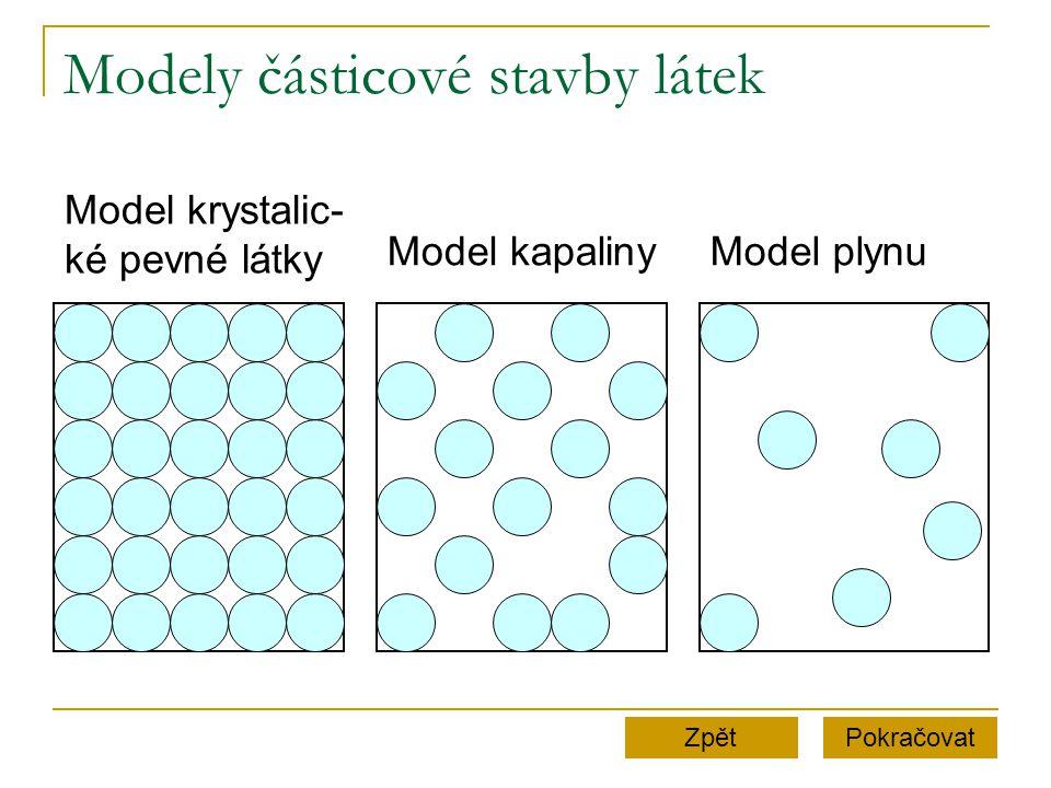 Modely částicové stavby látek PokračovatZpět Model krystalic- ké pevné látky Model kapalinyModel plynu