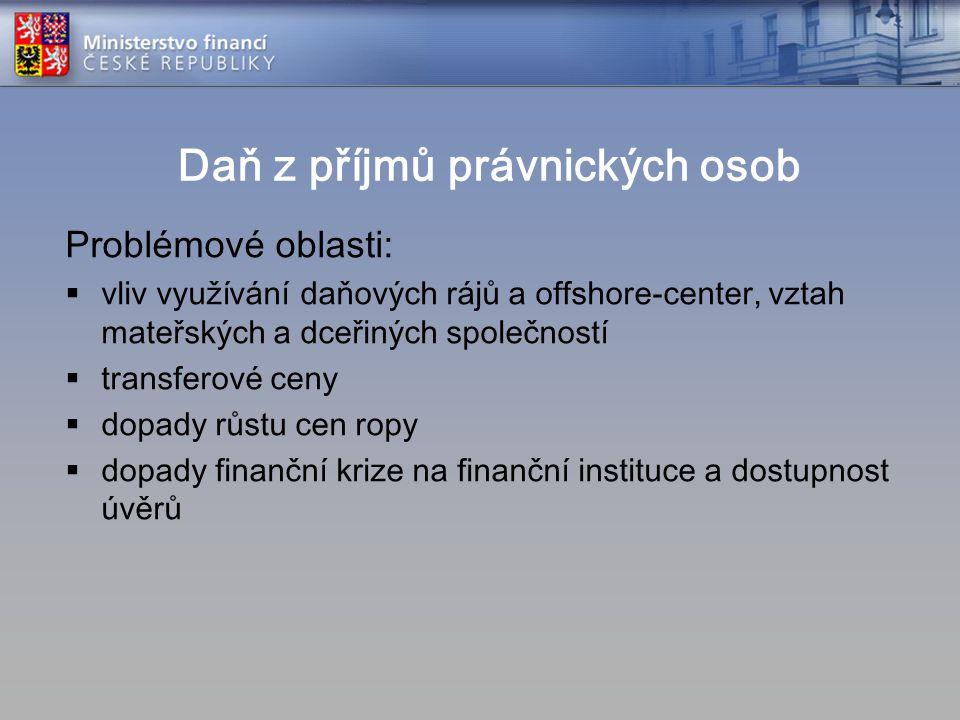 Daň z příjmů právnických osob Problémové oblasti:  vliv využívání daňových rájů a offshore-center, vztah mateřských a dceřiných společností  transfe