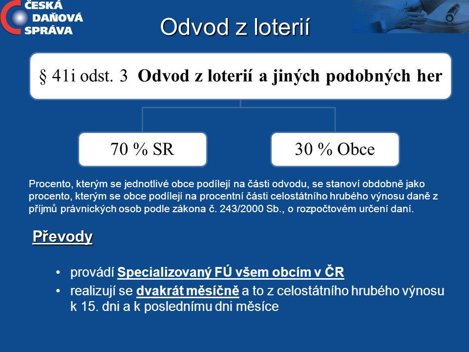 § 41i odst. 3 Odvod z loterií a jiných podobných her 70 % SR30 % Obce Procento, kterým se jednotlivé obce podílejí na části odvodu, se stanoví obdobně