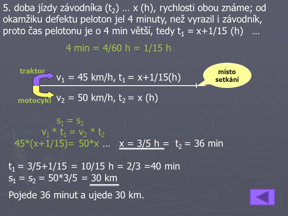 5. doba jízdy závodníka (t 2 ) … x (h), rychlosti obou známe; od okamžiku defektu peloton jel 4 minuty, než vyrazil i závodník, proto čas pelotonu je