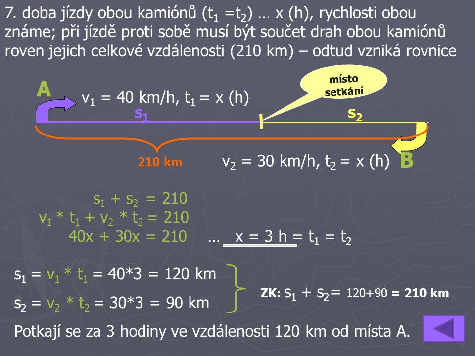 7. doba jízdy obou kamiónů (t 1 =t 2 ) … x (h), rychlosti obou známe; při jízdě proti sobě musí být součet drah obou kamiónů roven jejich celkové vzdá