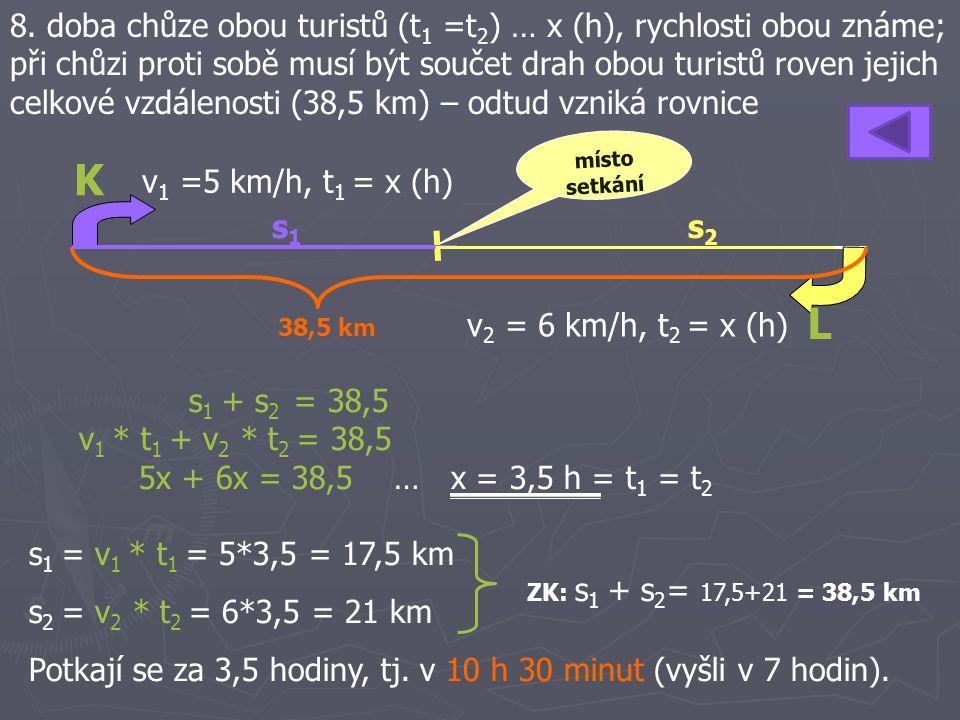 8. doba chůze obou turistů (t 1 =t 2 ) … x (h), rychlosti obou známe; při chůzi proti sobě musí být součet drah obou turistů roven jejich celkové vzdá