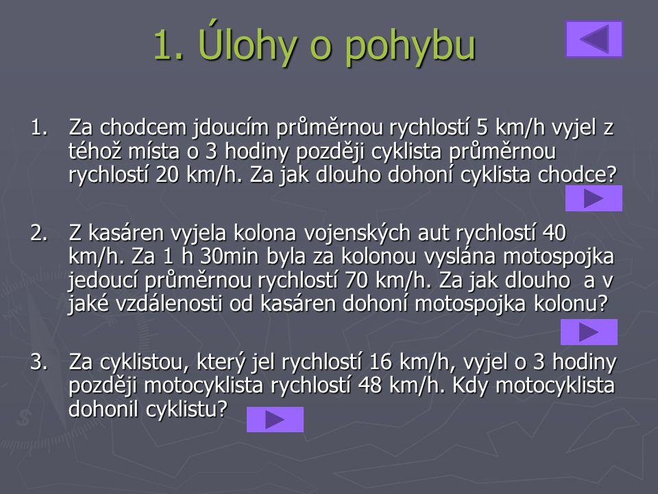 1. Úlohy o pohybu 1. Za chodcem jdoucím průměrnou rychlostí 5 km/h vyjel z téhož místa o 3 hodiny později cyklista průměrnou rychlostí 20 km/h. Za jak