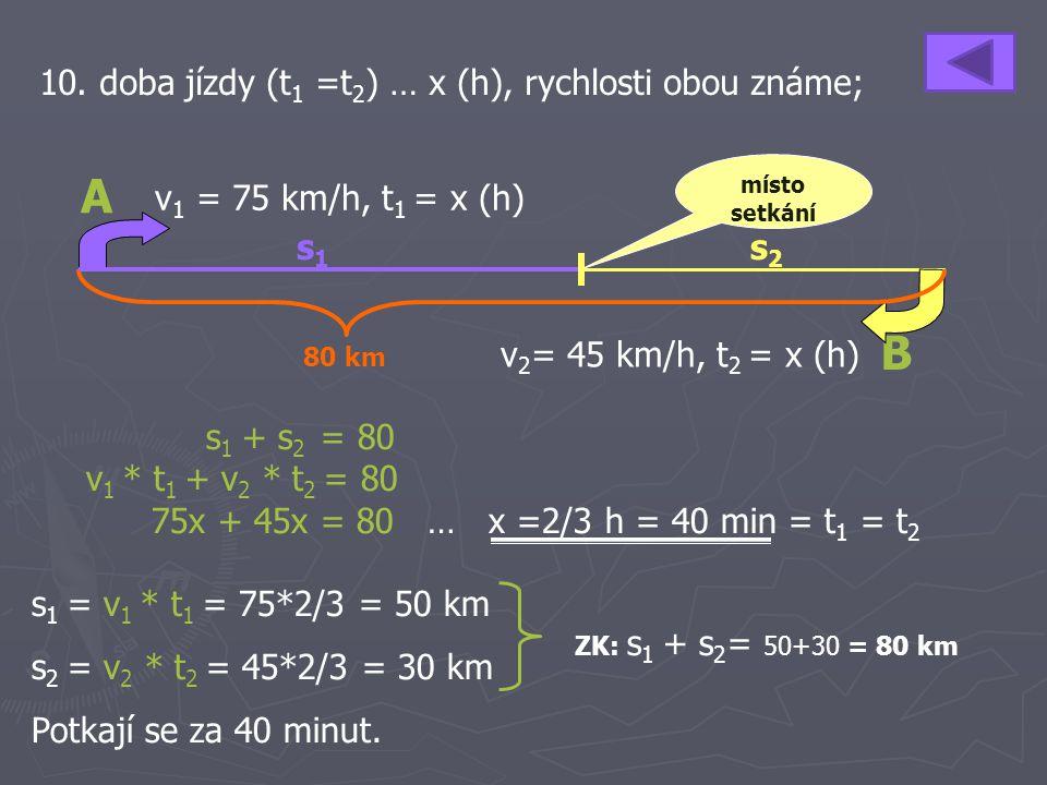 10. doba jízdy (t 1 =t 2 ) … x (h), rychlosti obou známe; s 1 + s 2 = 80 v 1 * t 1 + v 2 * t 2 = 80 75x + 45x = 80 … x =2/3 h = 40 min = t 1 = t 2 s 1