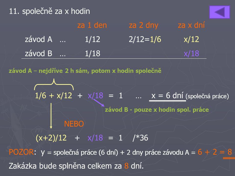 11. společně za x hodin za 1 den za 2 dny za x dní závod A …1/122/12=1/6x/12 závod B … 1/18x/18 1/6 + x/12 + x/18 = 1 … x = 6 dní (společná práce) NEB